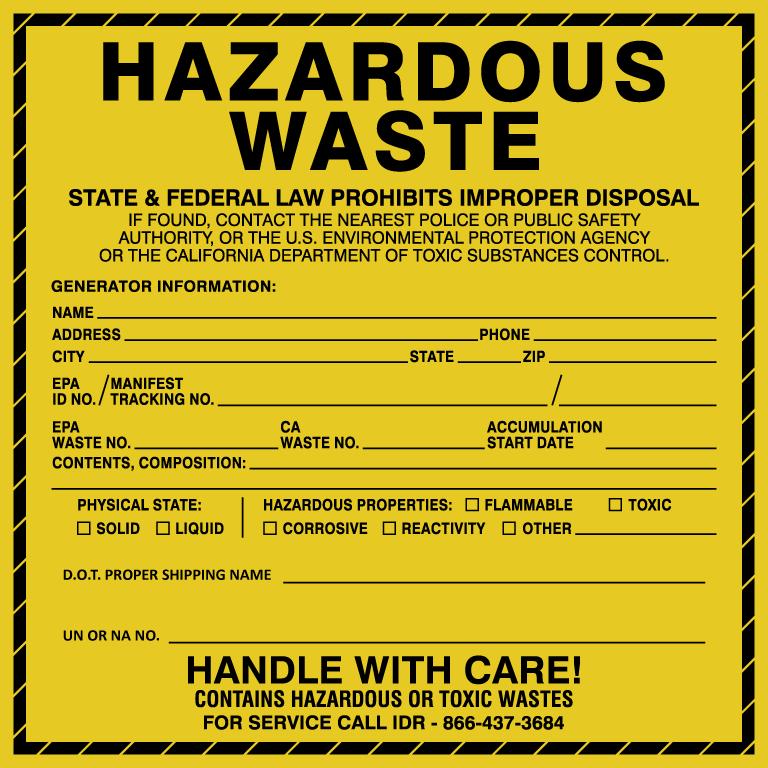 image about Free Printable Hazardous Waste Labels titled Damaging Squander Labels